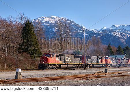 Squamish, British Columbia, Canada - March 10, 2018. Cn Train Squamish Bc. Desiel Engines Pull A Cn