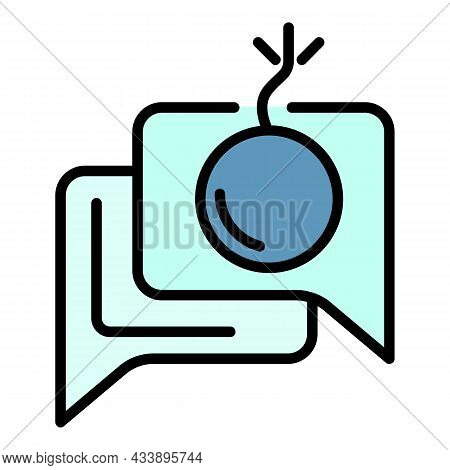Chat Hacker Bomb Icon. Outline Chat Hacker Bomb Vector Icon Color Flat Isolated