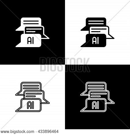 Set Chat Bot Icon Isolated On Black And White Background. Chatbot Icon. Vector