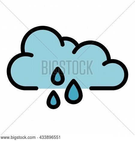 Rainy Storm Cloud Icon. Outline Rainy Storm Cloud Vector Icon Color Flat Isolated