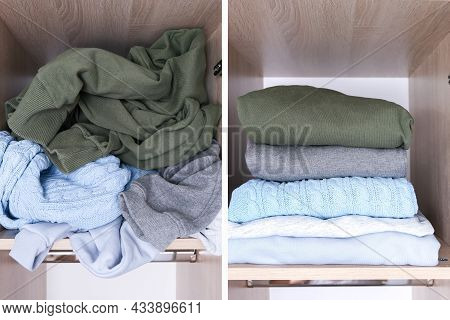 Decluttering Cpncept, A Messy Clothes On A Wardrobe Shelf And Organized Clothes, Before And After, T