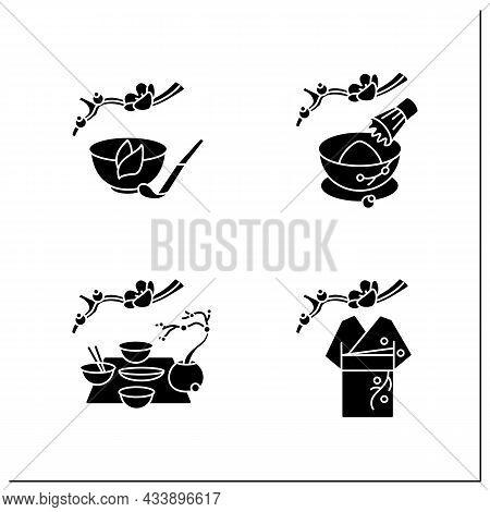 Japanese Tea Ceremony Glyph Icons Set. Kimono, Kaiseki, Tea Whisk And Scoop. Japan Ancient Tradition