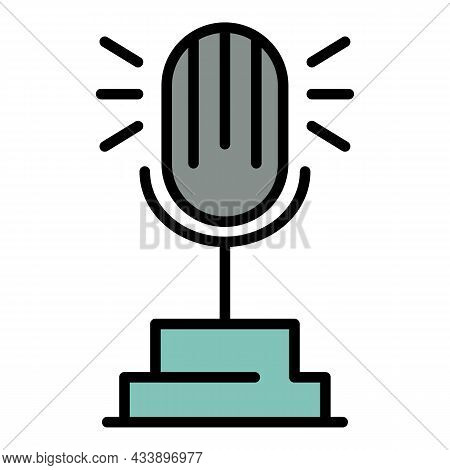 Microphone Radio Ester Icon. Outline Microphone Radio Ester Vector Icon Color Flat Isolated