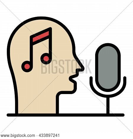 Head Note Microphone Icon. Outline Head Note Microphone Vector Icon Color Flat Isolated