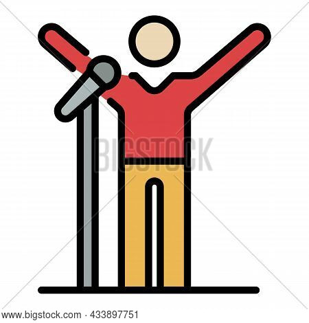 Singer On Stage Icon. Outline Singer On Stage Vector Icon Color Flat Isolated