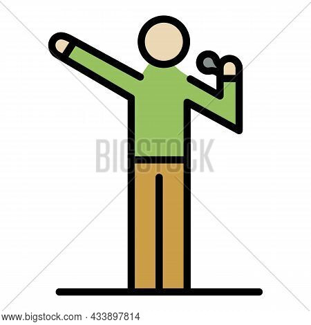 Rapper On Stage Icon. Outline Rapper On Stage Vector Icon Color Flat Isolated
