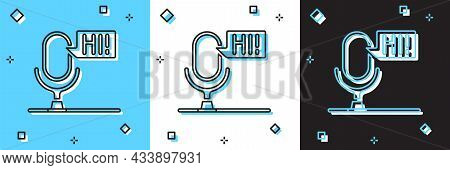 Set Microphone Voice Device Icon Isolated On Blue And White, Black Background. Microphone Interprete