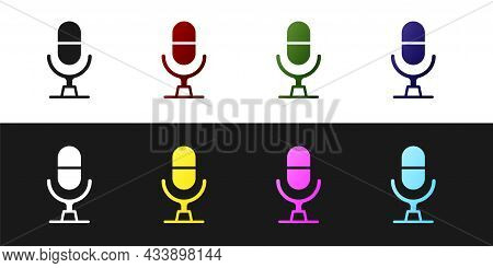 Set Microphone Voice Device Icon Isolated On Black And White Background. Microphone Interpreter And