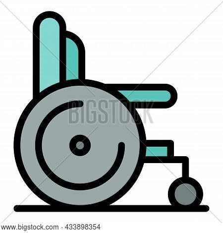 Wheelchair For Cancer Icon. Outline Wheelchair For Cancer Vector Icon Color Flat Isolated