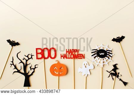 Spooky Festive Set With Haunted Tree And Words Of Bloody Letters For Halloween. Copy Space.