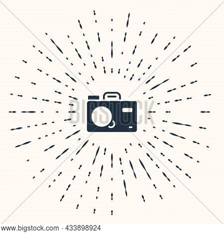 Grey Photo Camera Icon Isolated On Beige Background. Foto Camera. Digital Photography. Abstract Circ