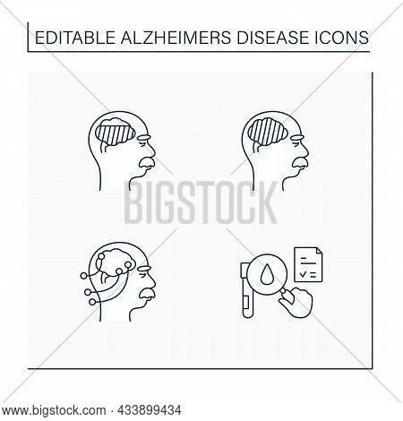 Alzheimer Disease Line Icons Set. Moderate, Severe Disease. Neurological Function Testing, Researchi