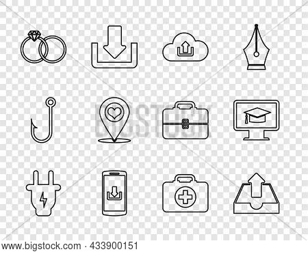 Set Line Electric Plug, Upload Inbox, Cloud Upload, Smartphone With Download, Wedding Rings, Map Poi