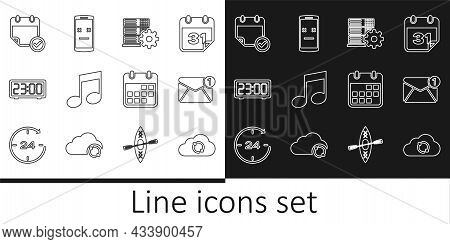 Set Line Cloud Sync Refresh, New, Email Incoming Message, Server Setting, Music Note, Tone, Digital