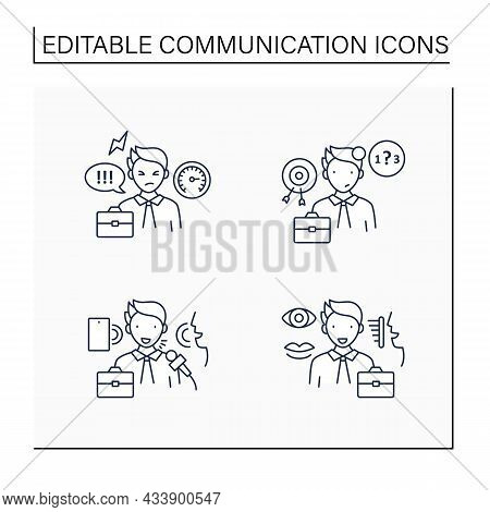 Effective Communication Line Icons Set.ineffective, Verbal, Non Verbal Communication. Exchanging Tho