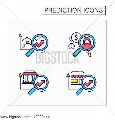Predictive Analytics Color Icons Set. Banking, Retail Predictive Analytics, Detecting Fraud. Busines