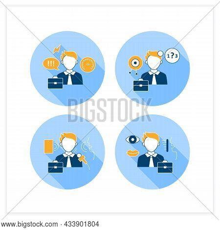 Effective Communication Flat Icons Set.ineffective, Verbal, Non Verbal Communication. Exchanging Tho