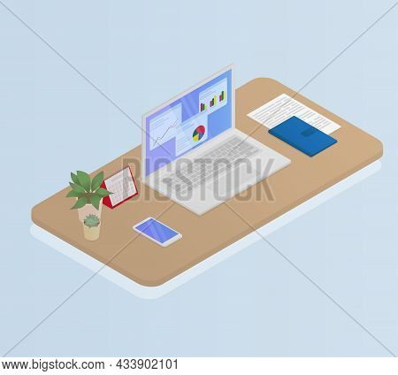 Laptop, Phone, Notebook, Calendar And Potted Flowers On The Desktop. Isometric Vector Illustration.
