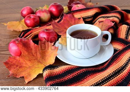 Autumn Still Life. Сup Of Tea And Warm Knitted Scarf On Wooden Table With Colorful Autumn. Red Apple