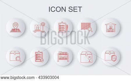Set Line Delivery Box Security Shield, Search Package, Verification Of Delivery List, With Fragile C