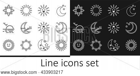 Set Line Sun, Moon And Stars, Sunset, Icon, And Icon. Vector