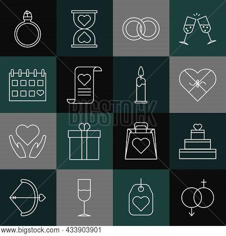 Set Line Gender, Wedding Cake With Heart, Candy Shaped Box, Rings, Envelope Valentine, Calendar, Dia