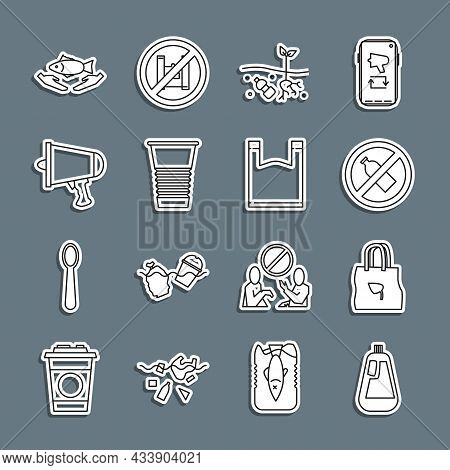 Set Line Bottle For Dishwashing Liquid, Shopping Bag With Recycle, No Plastic Bottle, Problem Of Pol
