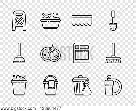 Set Line Bucket With Soap Suds, Dishwashing Liquid Bottle And Plate, Sponge Bubbles, Rag, Wet Floor