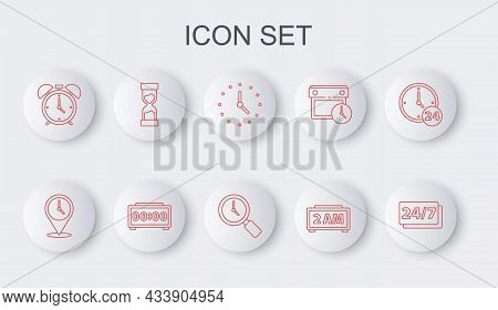 Set Line Clock 24 Hours, Location With Clock, Digital Alarm, Alarm, Old Hourglass, And Magnifying Ic