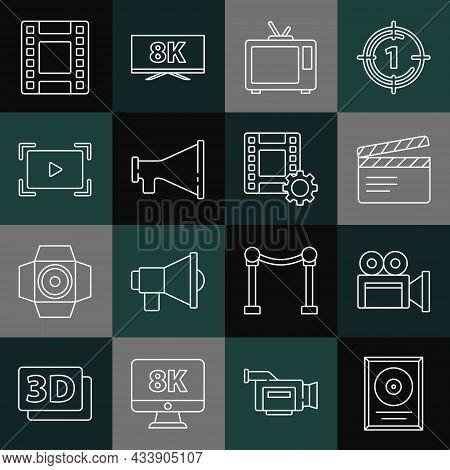Set Line Cd Disk Award In Frame, Cinema Camera, Movie Clapper, Retro Tv, Megaphone, Online Play Vide