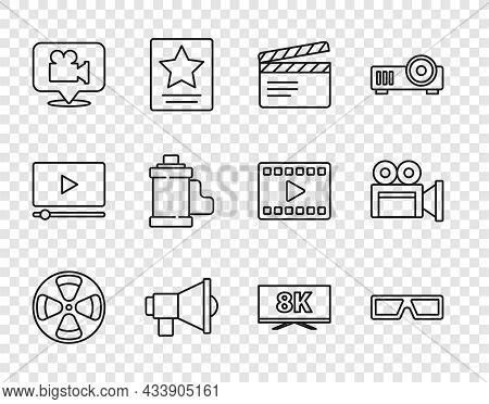 Set Line Film Reel, 3d Cinema Glasses, Movie Clapper, Megaphone, Camera And Location, Film Roll Cart