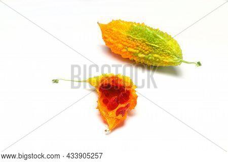 Momordica Charantia Isolated On A White Background. Ripe Whole Fruits Of Momordica Charantia, Also K