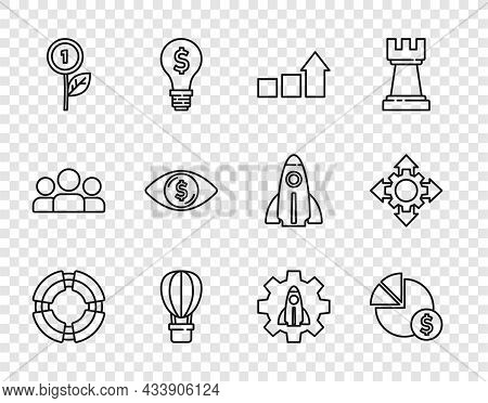 Set Line Business Lifebuoy, Pie Chart And Dollar, Financial Growth, Hot Air Balloon, Dollar Plant, E