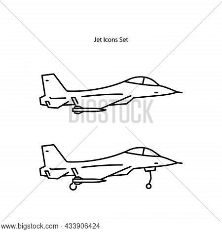 Jet Icons Set Isolated On White Background From Army Collection. Jet Icon Trendy And Modern Jet Symb