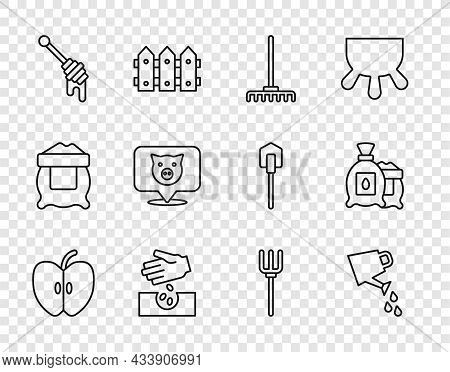 Set Line Apple, Watering Can, Garden Rake, Seeds, Honey Dipper Stick, Pig, Pitchfork And Pack Full O