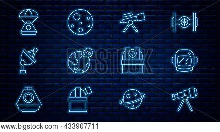 Set Line Telescope, Astronaut Helmet, Earth Globe, Satellite Dish, Space Capsule, Astronomical Obser