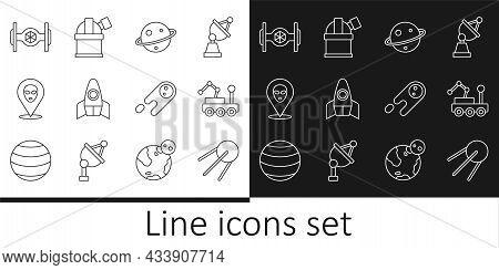 Set Line Satellite, Mars Rover, Planet Saturn, Rocket Ship, Alien, Cosmic, Comet Falling Down Fast A