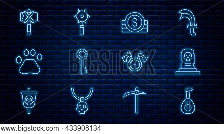 Set Line Lute, Grave With Tombstone, Ancient Coin, Old Key, Bear Paw Footprint, Medieval Axe, Shield