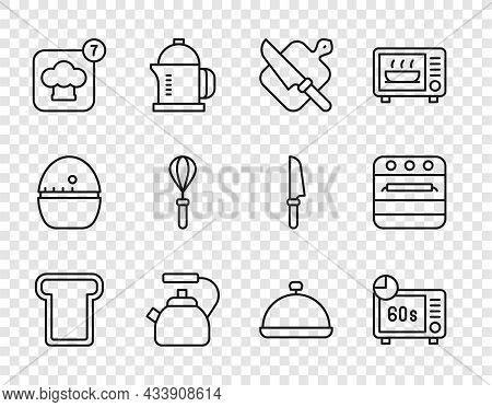 Set Line Bread Toast, Microwave Oven, Cutting Board And Knife, Kettle With Handle, Chef Hat, Kitchen