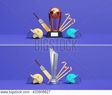 3D Winning Trophy Cup And Cricket Equipments On Blue Background In Two Option. Banner Or Header Design.
