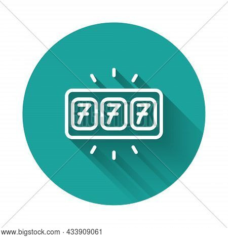 White Line Slot Machine With Lucky Sevens Jackpot Icon Isolated With Long Shadow Background. Green C