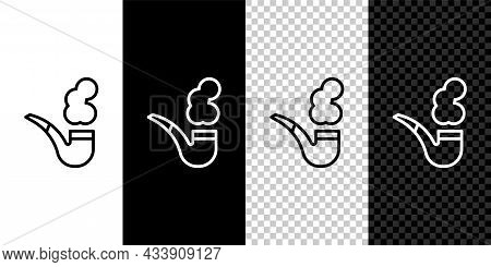 Set Line Smoking Pipe With Smoke Icon Isolated On Black And White, Transparent Background. Tobacco P