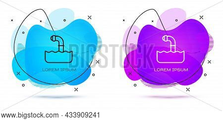 Line Periscope In The Waves Above The Water Icon Isolated On White Background. Abstract Banner With