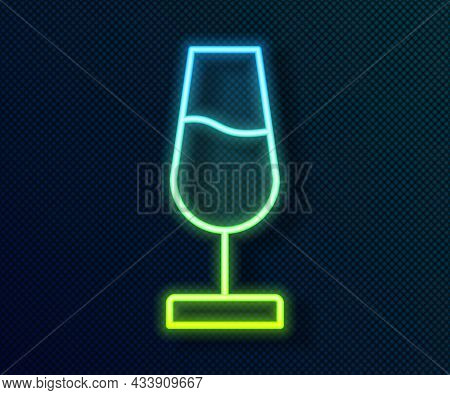 Glowing Neon Line Wine Glass Icon Isolated On Black Background. Wineglass Sign. Vector