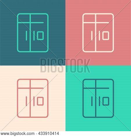 Pop Art Line Refrigerator Icon Isolated On Color Background. Fridge Freezer Refrigerator. Household