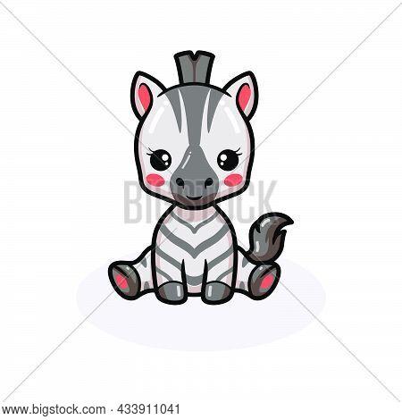 Vector Illustration Of Cute Baby Zebra Cartoon Sitting