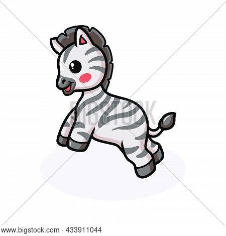 Vector Illustration Of Cute Baby Zebra Cartoon Jumping