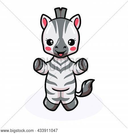 Vector Illustration Of Cute Baby Zebra Cartoon Posing