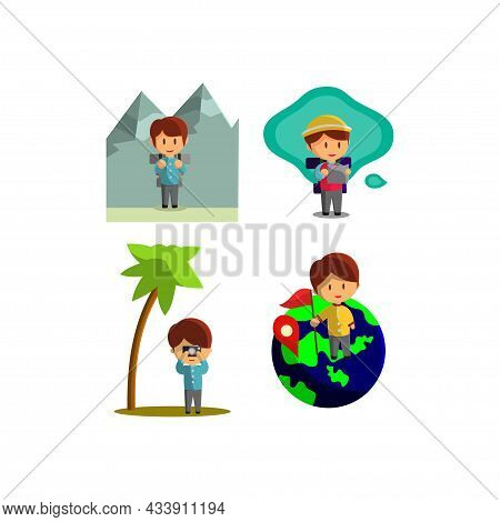 Character Vector Illustration On The Theme World Tourism Set
