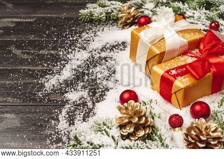 Christmas Background With Christmas Toys, Tree Branches, Christmas Card, Free Space For Christmas Te